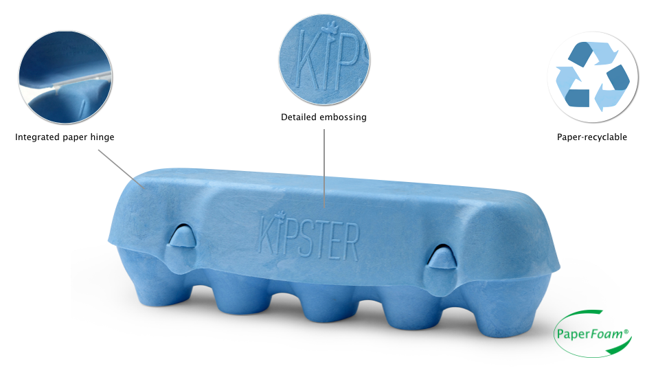 Kipster egg packaging by PaperFoam, with integrated paper hinge. No Plastics are used in the production of PaperFoam.